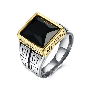European Retro Fashion Men's Ring Square Black Gems Jewelry