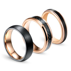Rose Gold Series Brazing Dimensional Inlaid Classic Brushed Tungsten Steel Ring Combination