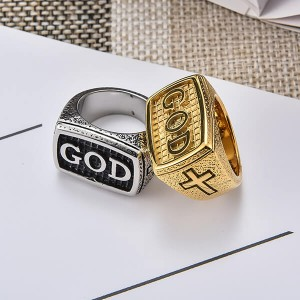 European and American Simple Personality Retro GOD Ring Stainless Steel Men's Ring