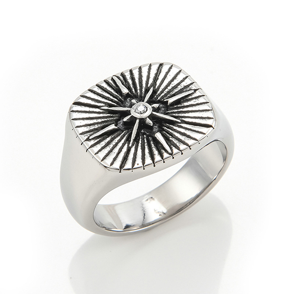 Stainless Steel Ring Silver Tone Black Engine Sun Pattern Celtic Vintage Knot Motifs Finger Rings Featured Image