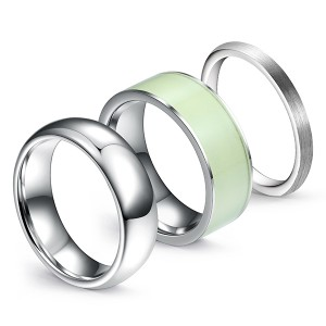 Classic Combination High Polished Luminous Brushed Tungsten Steel Ring