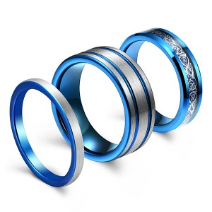Blue Men's Jewelry Exquisite Brushed High Polish Fiber Inlaid Tungsten Steel Ring