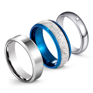 Silver Matching Series Imitation Meteorite Inlaid Classic Brushed Tungsten Steel Ring