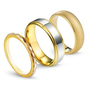 18K Gold-Plated Series High Polished Frosted Face 3PCS/Set Tungsten Ring Combination