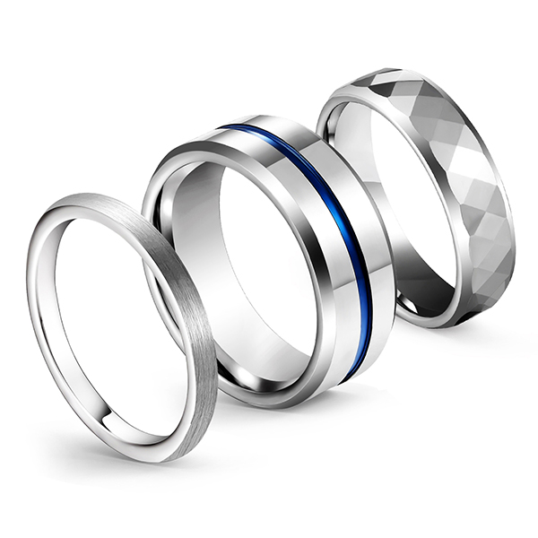 Tungsten Combination Silver Series High-Polished Brushed Blue Plating Centerline Ring Featured Image