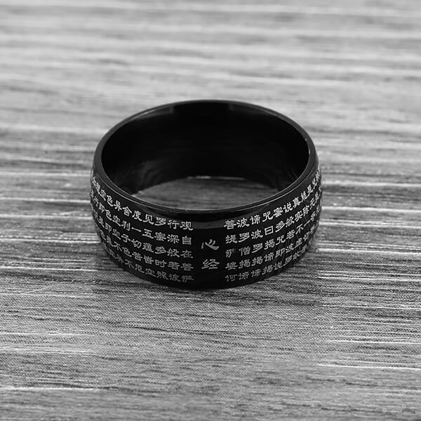 China Manufacturer for Tungsten Carbide Rings Womens - Ethnic Style Retro Buddhist Fashion Simple Men's Stainless Steel Rings – Ouyuan