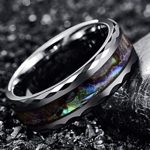 8mm Abalone Shell Tungsten Carbide Rings Unisex Wedding Bands Faceted Edge Comfort