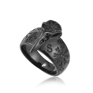 Rings Pirate Compass Norse Scandinavian Text Symbol Men Stainless Steel Vintage Jewelry