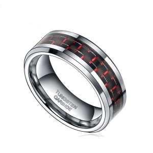 8MM Mens Tungsten Ring Wedding Band Black Plated with Silver and Red Carbon Fiber Inlay
