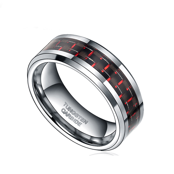 8MM Mens Tungsten Ring Wedding Band Black Plated with Silver and Red Carbon Fiber Inlay Featured Image