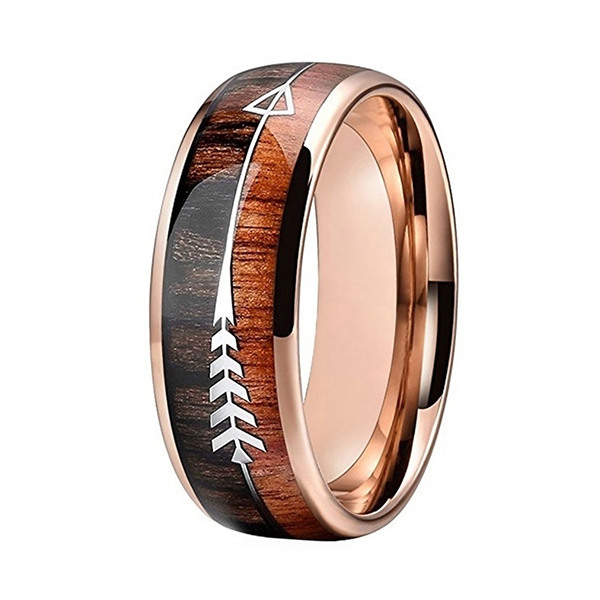 Factory made hot-sale 2 Piece Wedding Rings - Nature 8mm Tungsten Carbide Ring Inlay with Arrow Wedding Rings Dome Edge – Ouyuan