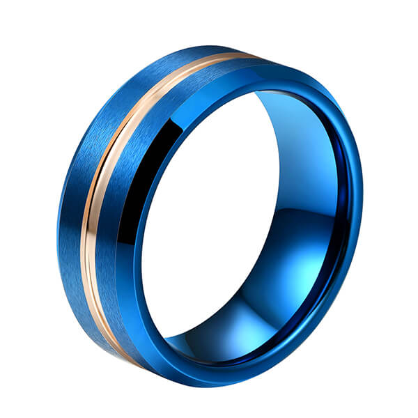 Hot sale Tungsten Carbide Ring Rash - Hot Sell Blue Plated Tungsten Carbide Rose Gold Center Line Beveled Edge Brushed Polished – Ouyuan