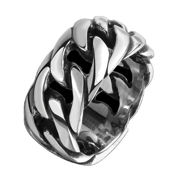 Hot Sell Retro Punk Style Braided Stainless Steel Men's Ring Featured Image
