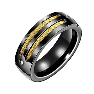 New Style Men Fashion Cheap Unique Black Titanium Jewelry Rings
