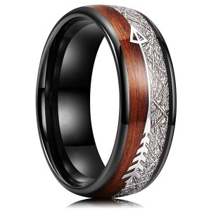 6mm 8mm Koa Zebra Wood Arrows Inlay Tungsten Wedding Rings Vikings Hunting Bands for Men Women