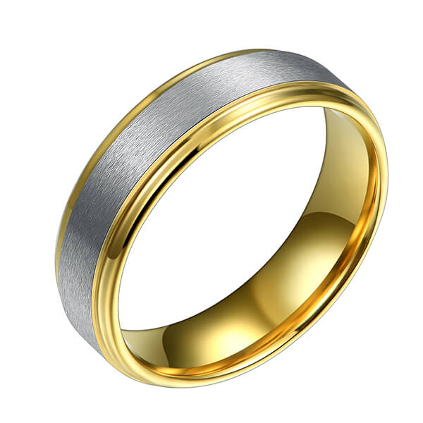Well-designed 14k Gold Wedding Rings - 6mm Silver and 18k Gold Single Bands Matte Polished Finish Brushed Beveled Edges Comfort Fit – Ouyuan