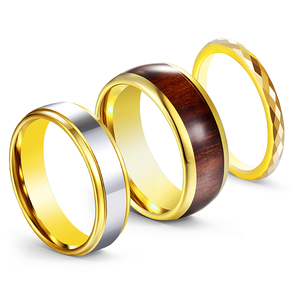 3pcs/set Gold-Plated High-Polished Wood Inlaid Tungsten Steel Rings for Men Featured Image