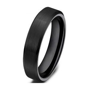Simple Style All Black Brushed Outside and Polished Tungsten Steel Rings
