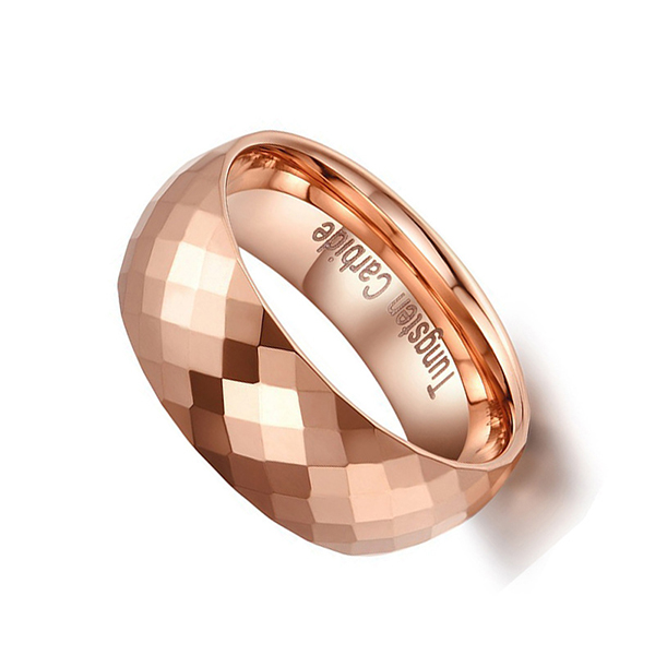 New Boxed Mens//Unisex Rose Gold Tungsten Carbide Wedding Band Ring 8mm