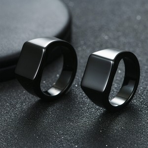 Men's Tungsten Ring Retro Solid Glossy Square Black Large Tungsten Steel Rings
