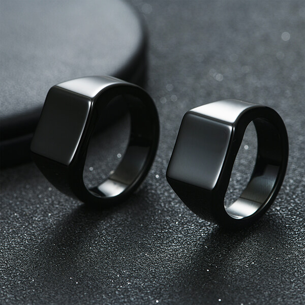 2020 China New Design Black And Rose Gold Wedding Band Mens - Men's Tungsten Ring Retro Solid Glossy Square Black Large Tungsten Steel Rings – Ouyuan