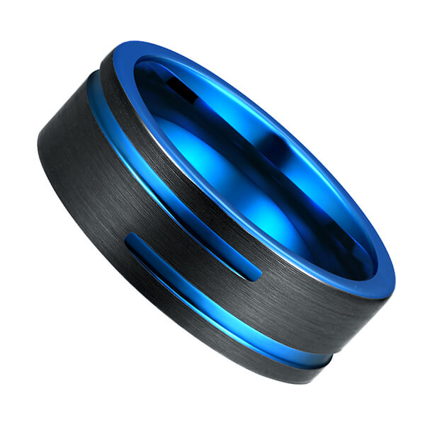 Cheapest Factory Is Tungsten Carbide Rings Safe - Tungsten Carbide Single Band Customize Blue Line Ring Black and Black Brushed Comfort Fit – Ouyuan