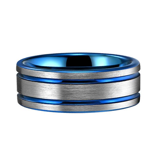 Online Exporter Furnace Tungsten Ring - Classic Men 8mm Blue Tungsten Carbide Rings Polished Beveled Edge Double Groove For Mens – Ouyuan