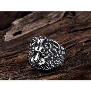 New Jewelry Punk Style Retro Personality Stainless Steel Lion Head Ring