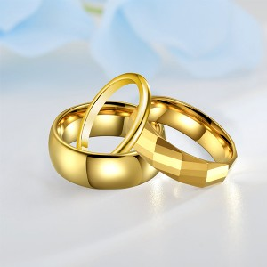 18K Gold Combination High Polish Multi-faceted Plain Ring Tungsten Steel Unisex