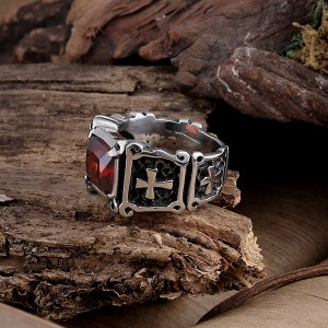 Locomotive Style Cross Pattern Inlaid Ruby Stainless Steel Ring