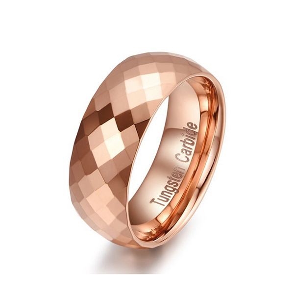 8mm Multi Faceted Tungsten Carbide Engagement Wedding Band Rose Gold Ring for Mens Featured Image
