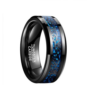 Men Inlaid Blue Carbon Fiber Ring New Tungsten Carved Black Rings