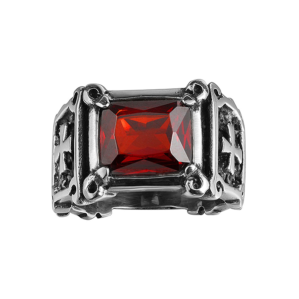 Locomotive Style Cross Pattern Inlaid Ruby Stainless Steel Ring Featured Image