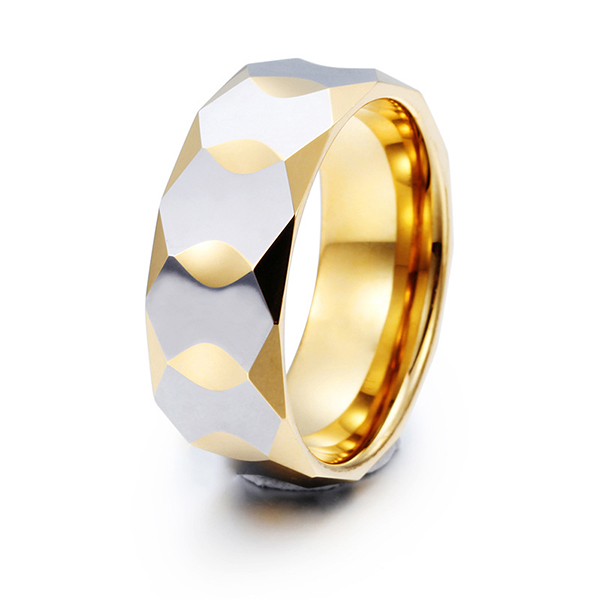 Trendy New Diamond Facet Plated Gold Tungsten Ring for Men Featured Image