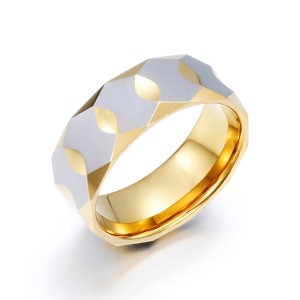 Trendy New Diamond Facet Plated Gold Tungsten Ring for Men