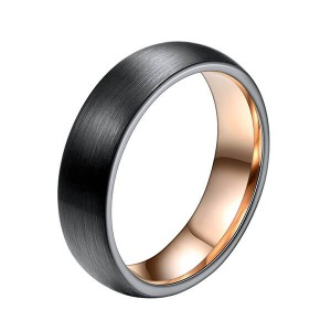 6mm Unisex Enamel Brushed Matte Surface Black And Rose Gold Plated