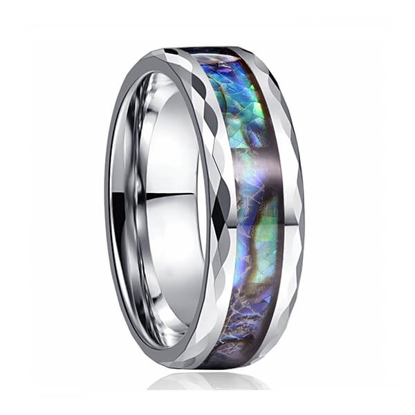 8mm Abalone Shell Tungsten Carbide Rings Unisex Wedding Bands Faceted Edge Comfort Featured Image