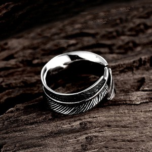 Japanese and Korean Pop Style Open Feather Unisex Ring