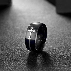 Fashion Trend Creative Cross Pattern Stainless Steel Ring Men
