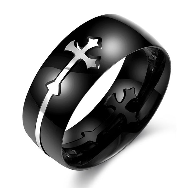 Fashion Trend Creative Cross Pattern Stainless Steel Ring Men Featured Image