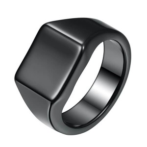 Top Quality Tungsten Ring Opal - Men's Tungsten Ring Retro Solid Glossy Square Black Large Tungsten Steel Rings – Ouyuan