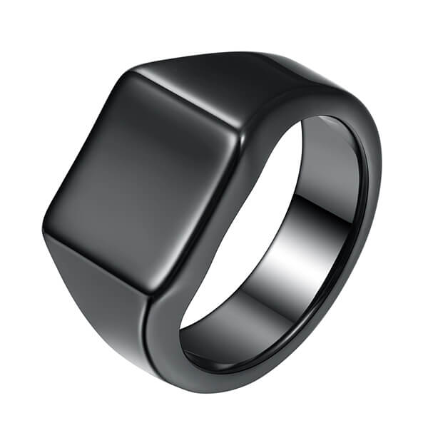 Excellent quality Tungsten Rings Rose Gold - Men's Tungsten Ring Retro Solid Glossy Square Black Large Tungsten Steel Rings – Ouyuan