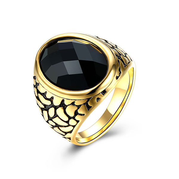 Vintage Style Round Gold-Plated Red and Black Gemstone Ring Featured Image
