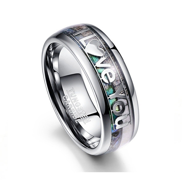 Personalized custom inlaid LOVE U tungsten steel ring Featured Image