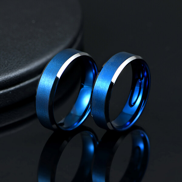 Factory directly supply Ring Wedding Rings - Blue Interior With Silver Beveled Edge Brushed Polished Tungsten Carbide Wedding Band Ring For Men – Ouyuan