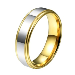 Men's 6mm Tungsten Carbide Ring Polished Silver And 18K Gold  Comfort Fit Single Band