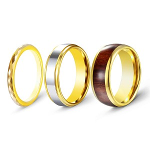 3pcs/set Gold-Plated High-Polished Wood Inlaid Tungsten Steel Rings for Men