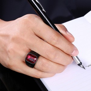 European and American Retro Square Zircon Stainless Steel Ruby Ring
