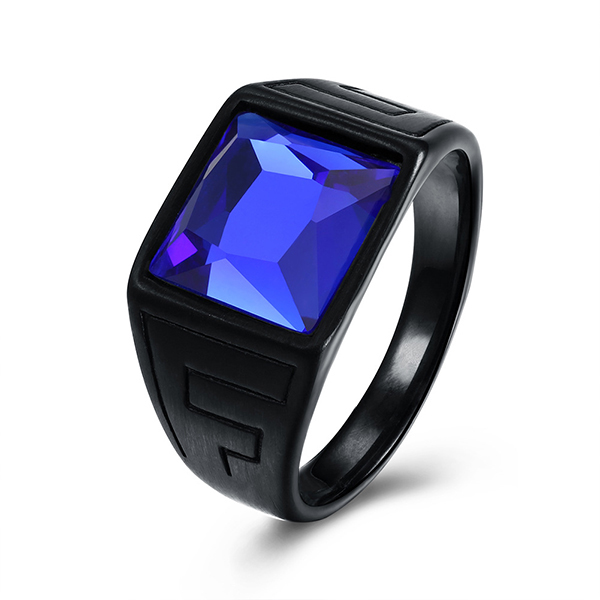 Retro Style Men's Square Zircon Inlaid Blue Diamond Ring for Hot Sell Featured Image