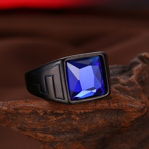 Retro Style Men's Square Zircon Inlaid Blue Diamond Ring for Hot Sell